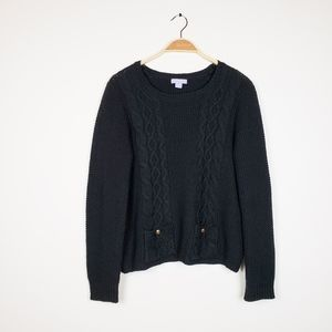 Laura Scott •Black Cable waffle Thick Sweater